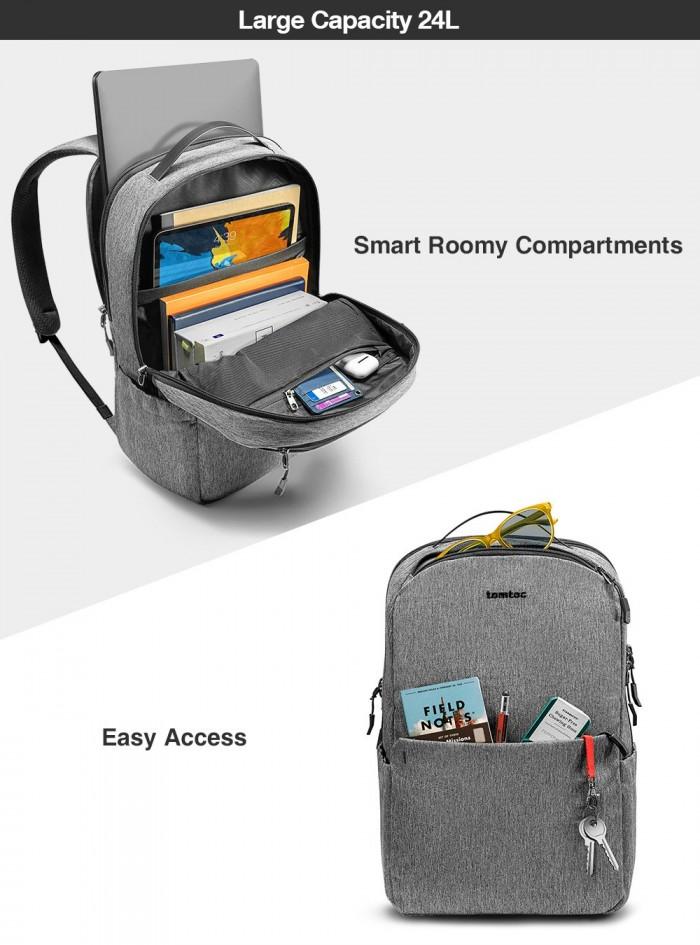 "Balo Tomtoc (USA) Casual School For Ultrabook 15"" Gray (A80) - MSN181546"