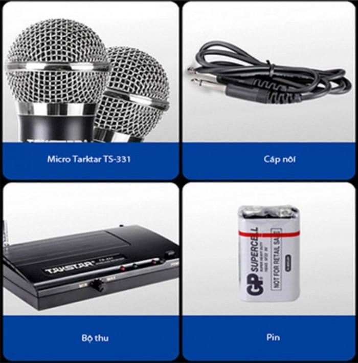 Micro Không dây TAKSTAR TS-331A Trọn bộ gồm có: Đầu thu phát sóng, tay Micro không dây, Adapter, dây 2 đầu 6 ly, pin 9V, catalog