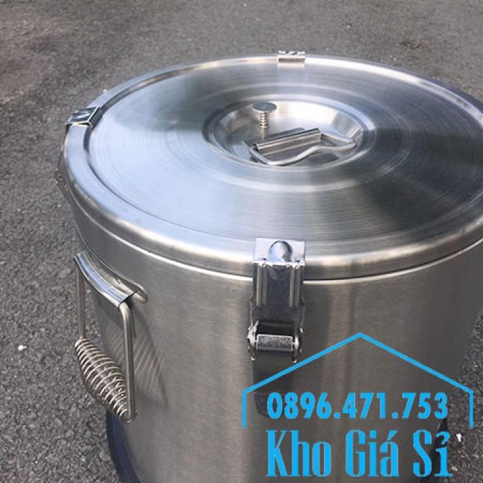 Giá rẻ thùng/ nồi inox giữ nhiệt 2 lớp vận chuyển đồ ăn, vận chuyển nước lèo, nước phở tại Tân Bình10