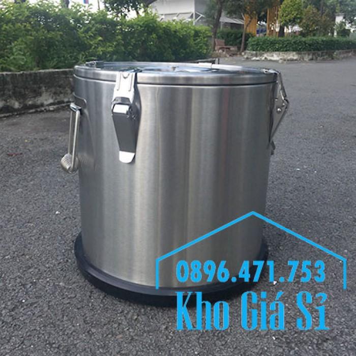 Giá rẻ thùng/ nồi inox giữ nhiệt 2 lớp vận chuyển đồ ăn, vận chuyển nước lèo, nước phở tại Tân Bình11