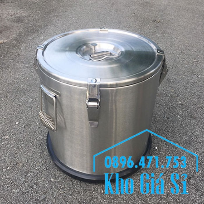 Giá rẻ thùng/ nồi inox giữ nhiệt 2 lớp vận chuyển đồ ăn, vận chuyển nước lèo, nước phở tại Tân Bình12