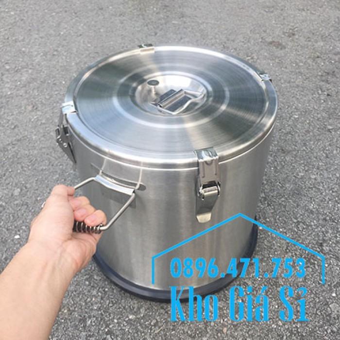 Giá rẻ thùng/ nồi inox giữ nhiệt 2 lớp vận chuyển đồ ăn, vận chuyển nước lèo, nước phở tại Tân Bình14
