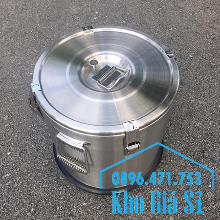 Giá rẻ thùng/ nồi inox giữ nhiệt 2 lớp vận chuyển đồ ăn, vận chuyển nước lèo, nước phở tại Tân Bình15