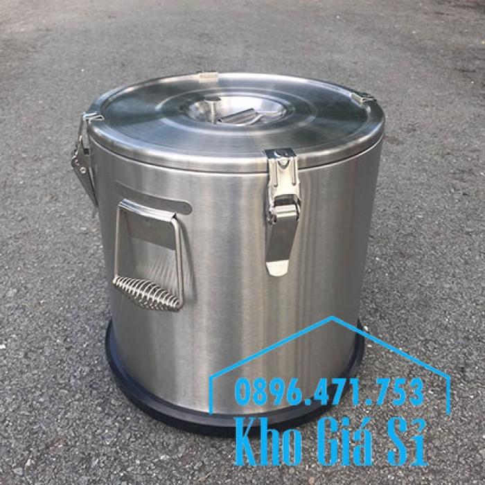 Giá rẻ thùng/ nồi inox giữ nhiệt 2 lớp vận chuyển đồ ăn, vận chuyển nước lèo, nước phở tại Tân Bình16