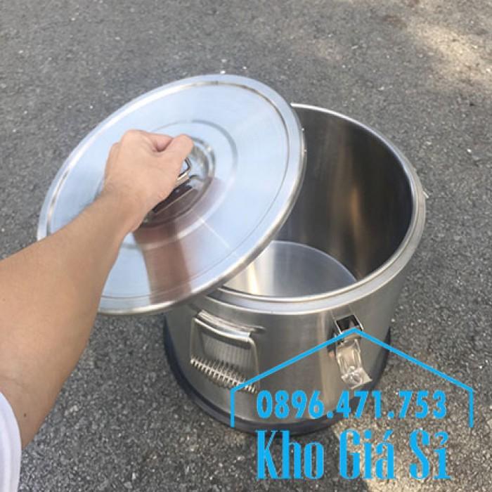 Giá rẻ thùng/ nồi inox giữ nhiệt 2 lớp vận chuyển đồ ăn, vận chuyển nước lèo, nước phở tại Tân Bình19