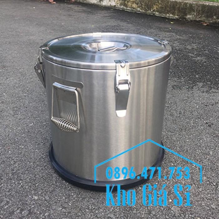 Giá rẻ thùng/ nồi inox giữ nhiệt 2 lớp vận chuyển đồ ăn, vận chuyển nước lèo, nước phở tại Tân Bình17