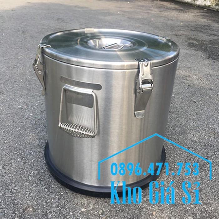 Giá rẻ thùng/ nồi inox giữ nhiệt 2 lớp vận chuyển đồ ăn, vận chuyển nước lèo, nước phở tại Tân Bình20