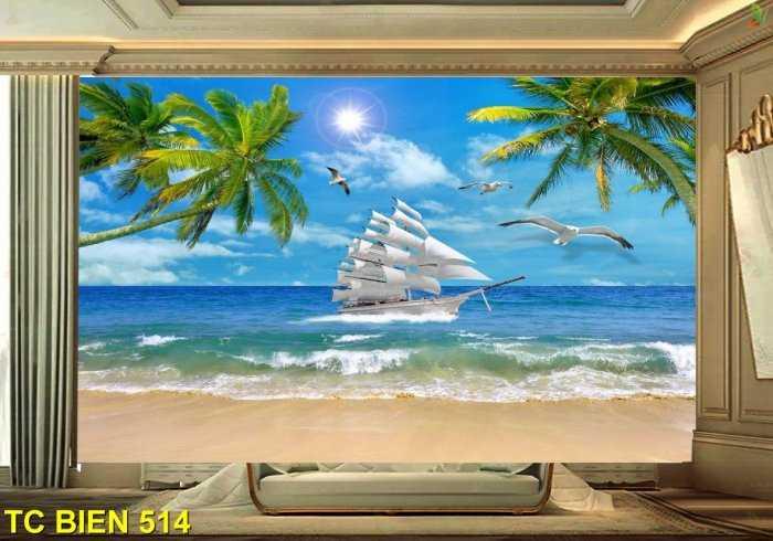 Tranh bãi biển đẹp- tranh gạch1