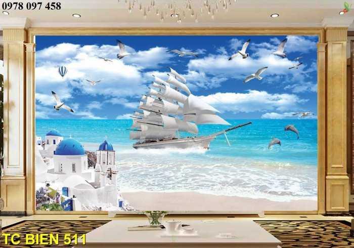 Tranh bãi biển đẹp- tranh gạch3