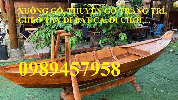Thuyền gỗ trang trí nhà hàng, Thuyền gỗ bày hải sản, Thuyền chụp ảnh8