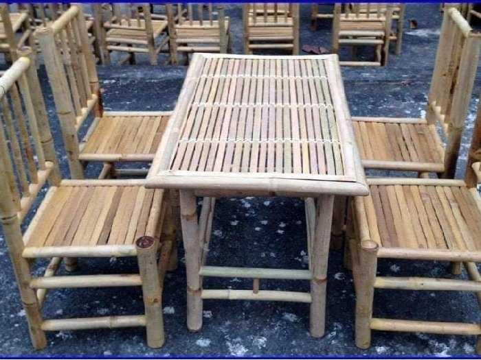 Bàn ghế tre làm tại xưởng sản xuất anh k