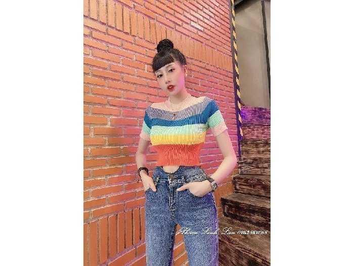 Áo len nữ croptop Quảng Châu sắc màu cầu1