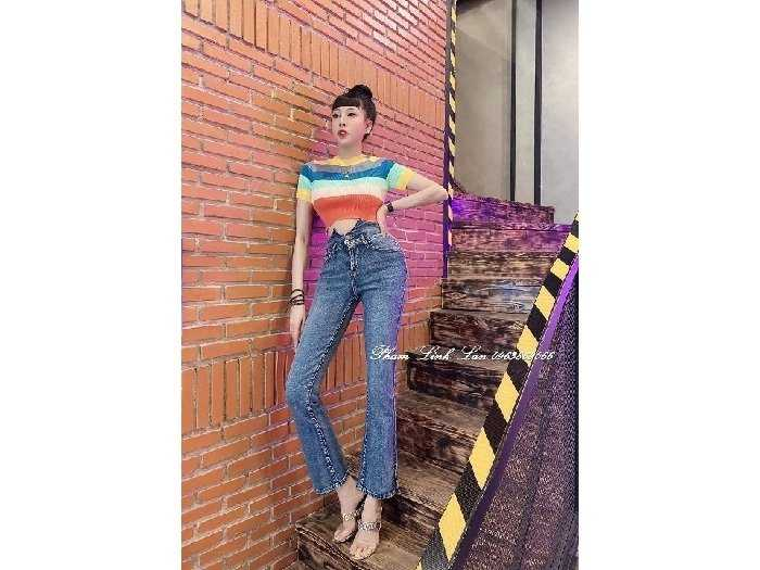 Áo len nữ croptop Quảng Châu sắc màu cầu2