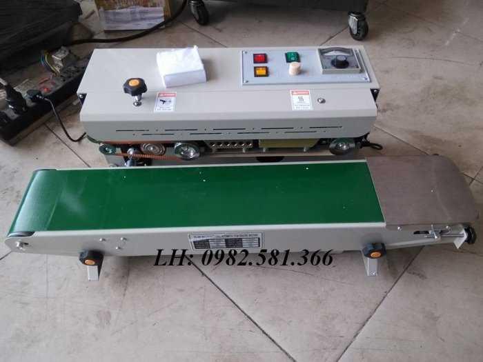 Máy hàn miệng túi dạng băng tải, máy hàn miệng túi liên tục có indate FRD10001