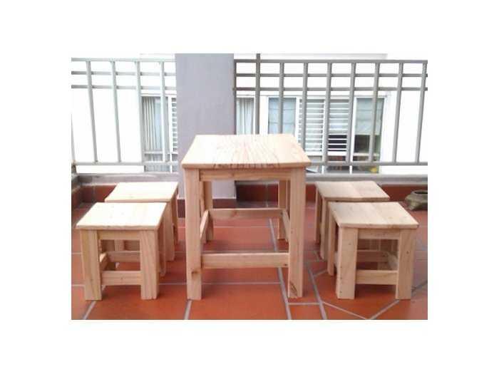 Bộ bàn ghế gỗ cafe vỉa hè giá rẻ