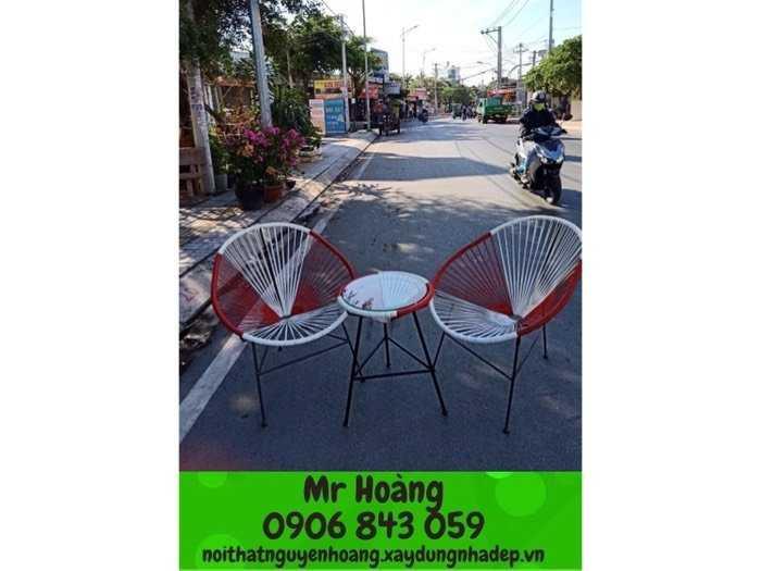 Bộ bàn ghế nhựa giả mây nón giá xưởng1