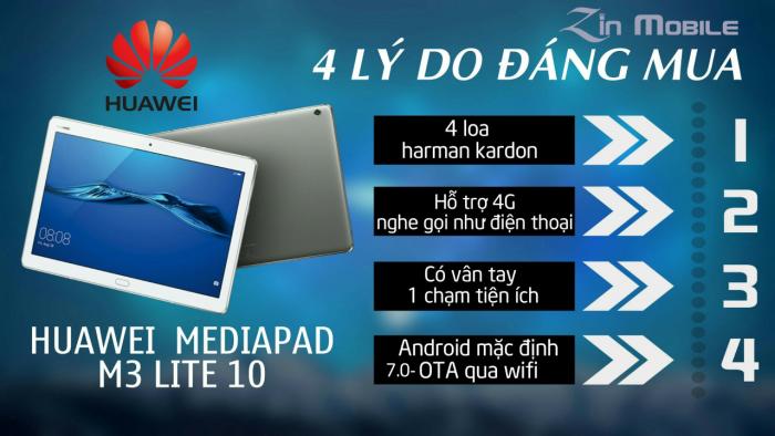 Máy tính bảng Huawei Mediapad M3 Lite 10 Full 4G+Wifi : 3 TRIỆU 450 NGHÌN6