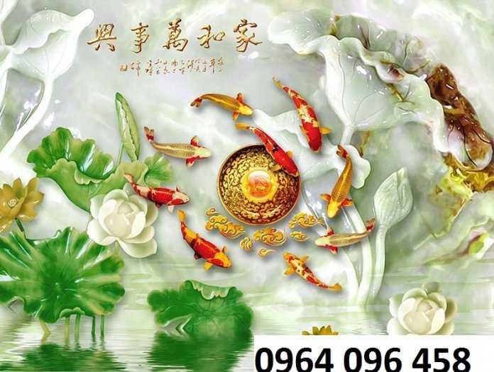 Tranh gạch 3d cữu ngư quần hội - SK888