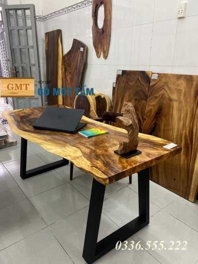 Bàn làm việc tuyệt đẹp gỗ me tây nguyên tấm3
