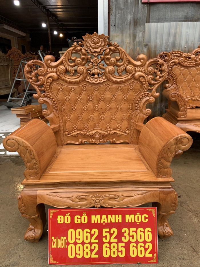 Bàn Ghế Phòng Khách Hoàng Gia Gỗ Gõ Đỏ dogomanhmoc.com4