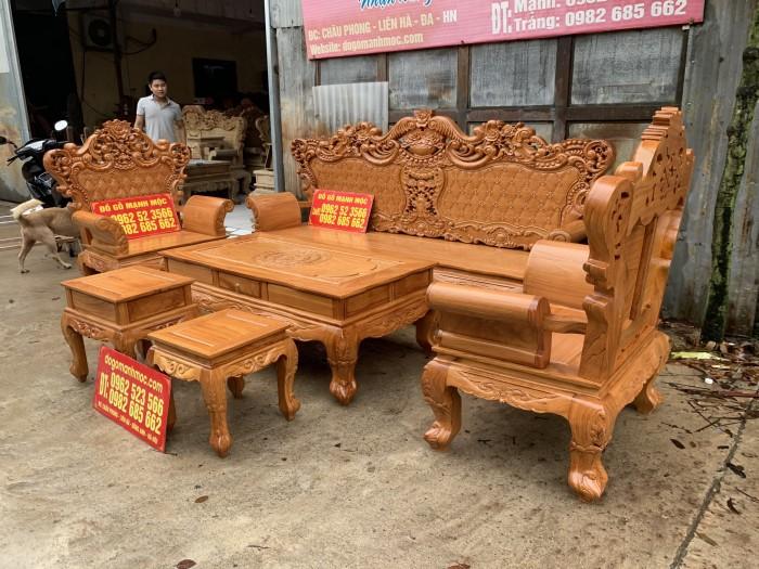 Bàn Ghế Phòng Khách Hoàng Gia Gỗ Gõ Đỏ dogomanhmoc.com2
