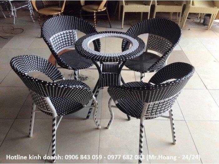 Bàn ghế cafe nhựa giả mây giá gốc - nội thất Nguyễn hoàng2