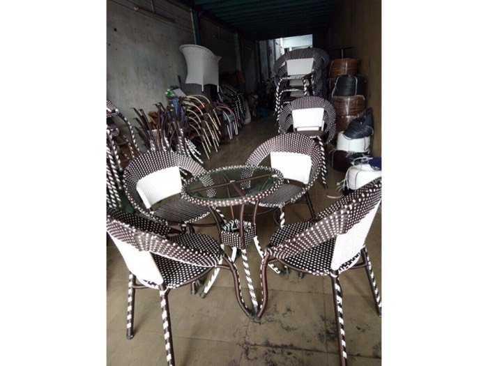 Bàn ghế cafe nhựa giả mây giá gốc - nội thất Nguyễn hoàng3
