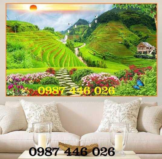 Tranh tường, gạch tranh phong cảnh đồng lúa HP9692
