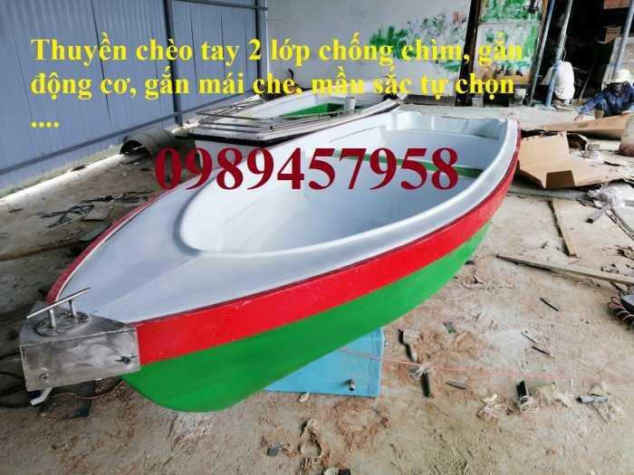 Thuyền nhựa chèo tay 3m, thuyền có mái che, Thuyền du lịch2
