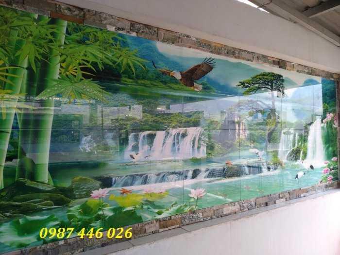 Tranh gạch Thực tế  phong cảnh thác nước 3d