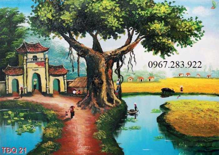 Gạch tranh- Tranh phong cảnh làng quê