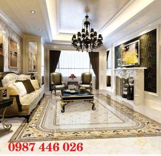 Gạch thảm trang trí cả phòng khách