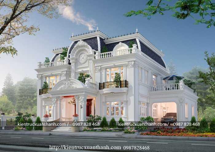 Thiết kế biệt thự 2 tầng tân cổ kiểu Pháp BT18332