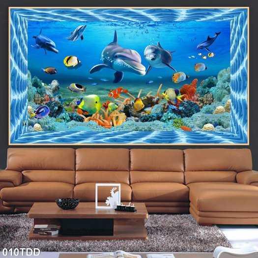 Gạch tranh cá heo và biển