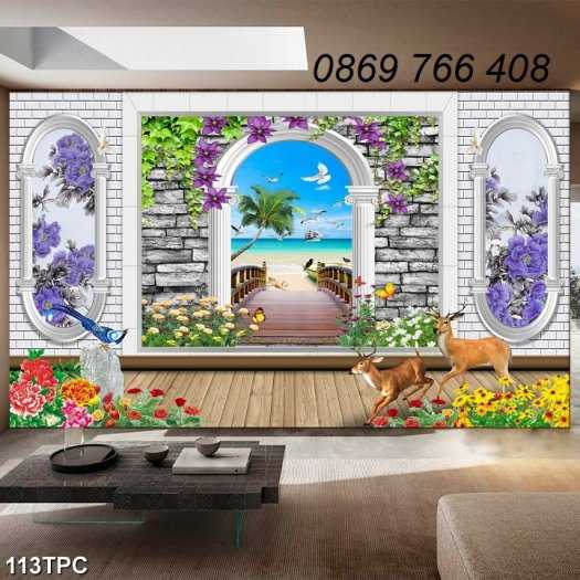 Tranh gạch-Tranh gạch 3D trang trí phòng khách5