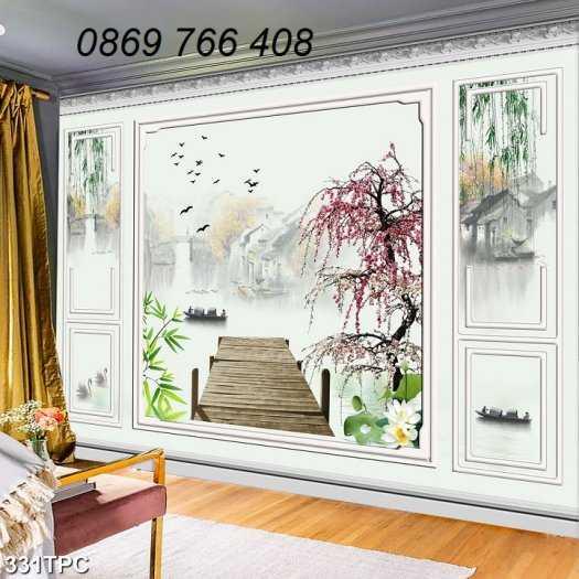 Tranh gạch-Tranh gạch 3D trang trí phòng khách1