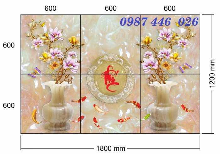 Tranh gạch men bình hoa ngọc HP62