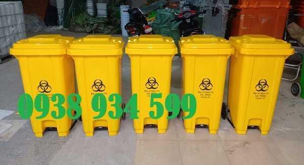 Thùng rác đạp chân 120 lít nhựa hpde2