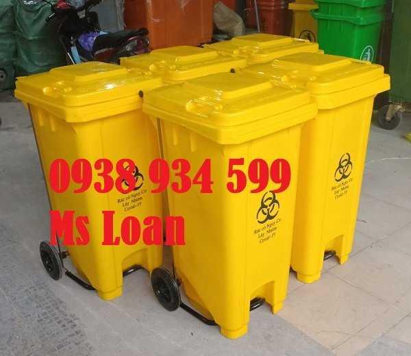 Thùng rác đạp chân 120 lít nhựa hpde3