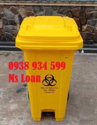 Thùng rác đạp chân 120 lít nhựa hpde1