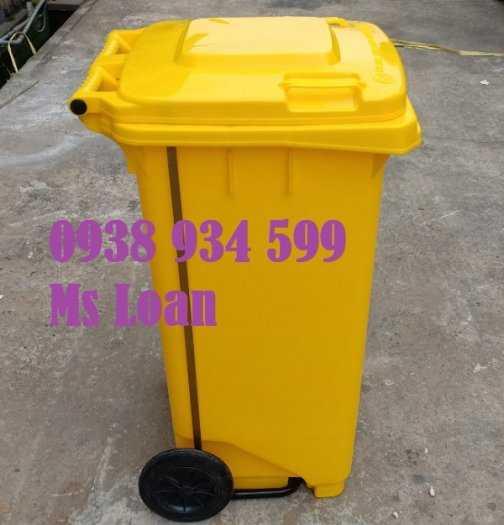 Thùng rác đạp chân 120 lít nhựa hpde0