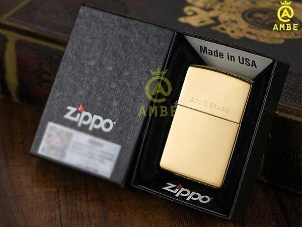 Bật lửa Zippo Mỹ vàng trơn bóng 254 có chữ5
