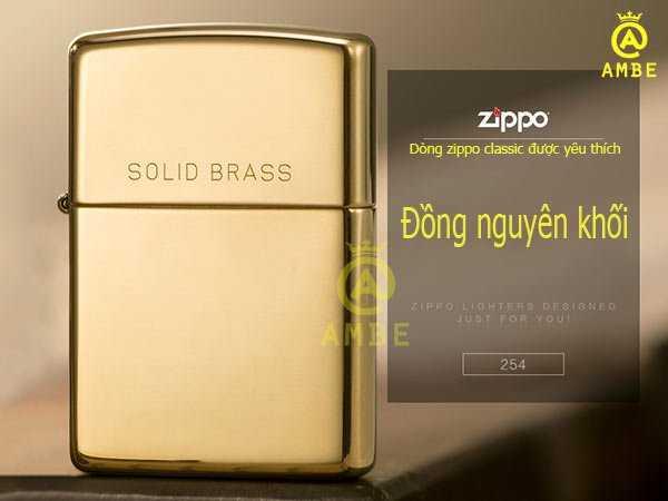 Bật lửa Zippo Mỹ vàng trơn bóng 254 có chữ1