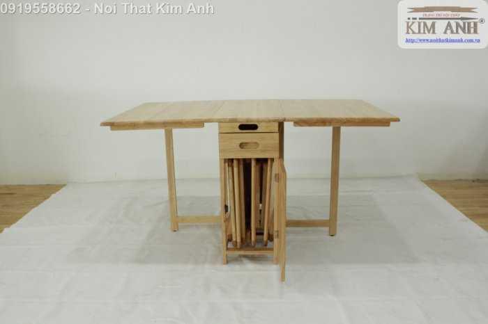 Bàn ghế ăn thông minh xếp gọn gỗ tự nhiên 4 ghế giá rẻ8
