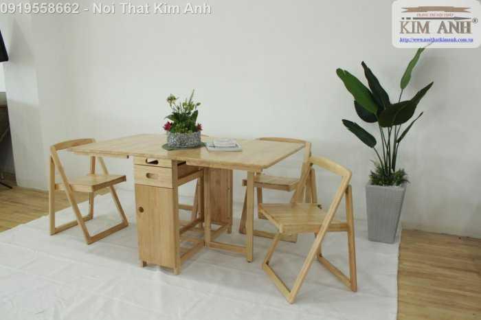 Bàn ghế ăn thông minh xếp gọn gỗ tự nhiên 4 ghế giá rẻ6