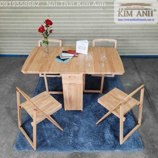 Bàn ghế ăn thông minh xếp gọn gỗ tự nhiên 4 ghế giá rẻ2