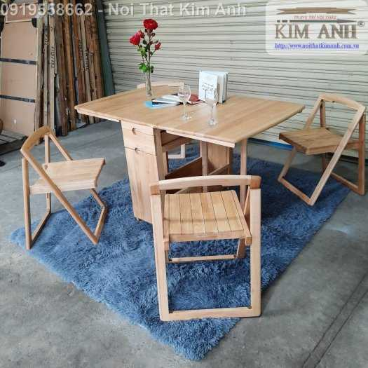 Bàn ghế ăn thông minh xếp gọn gỗ tự nhiên 4 ghế giá rẻ9