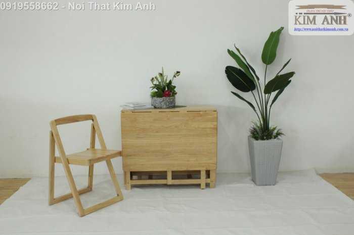 Bộ bàn ghế ăn xếp gọn thông minh 4 ghế gỗ tự nhiên giá rẻ5