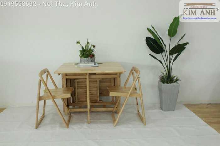 Bộ bàn ghế ăn xếp gọn thông minh 4 ghế gỗ tự nhiên giá rẻ7