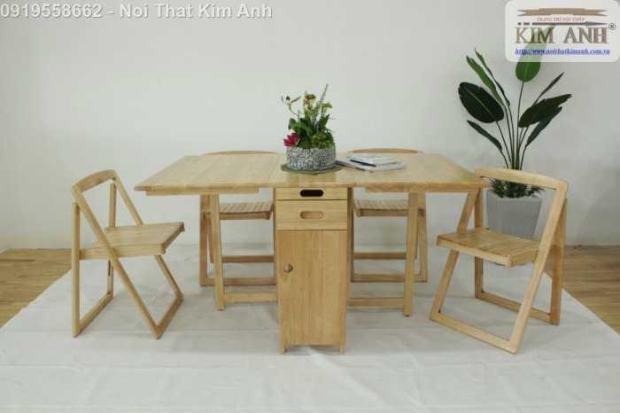 Bộ bàn ghế ăn xếp gọn thông minh 4 ghế gỗ tự nhiên giá rẻ4